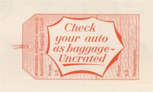 Uncrated Car Baggage Tags