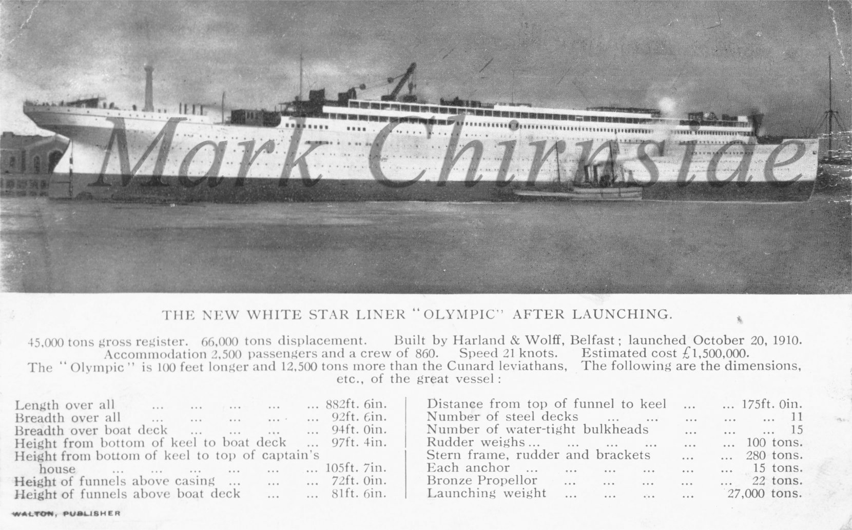 rms olympic launch postcard 1910
